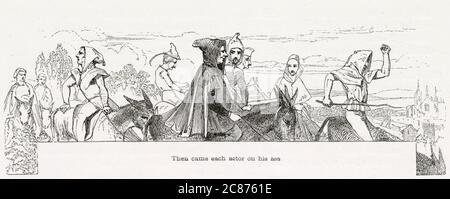 Illustration de Kenny Meadows à Hamlet, Prince du Danemark, par William Shakespeare. L'arrivée des joueurs en déplacement. Date: 1840
