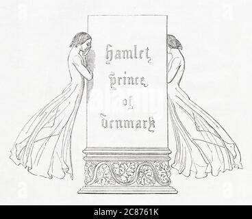 Illustration de Kenny Meadows à Hamlet, Prince du Danemark, par William Shakespeare. Page de titre. Date: 1840