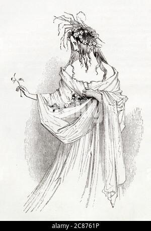 Illustration de Kenny Meadows à Hamlet, Prince du Danemark, par William Shakespeare. Ophelia avec des fleurs et des pailles, étant devenu fou de chagrin après la mort de son père Polonius. Date: 1840