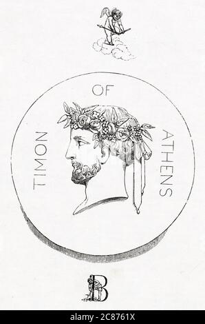 Illustration de Kenny Meadows à Timon d'Athènes, par William Shakespeare. Illustration d'introduction, portrait de profil de Timon. Date: 1840