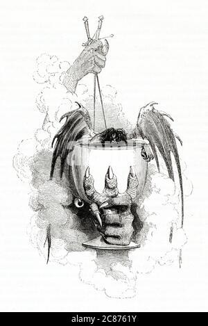 Illustration de Kenny Meadows à Hamlet, Prince du Danemark, par William Shakespeare. Conception de la pièce d'extrémité, symbolisant les nombreuses morts à la fin du jeu, soit par épée ou par poison. Date: 1840