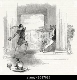 Illustration de Kenny Meadows à Timon d'Athènes, par William Shakespeare. Timon jette de l'eau à ses soi-disant amis et les chase loin, les appelant des parasites. Date: 1840