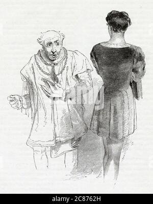 Illustration de Kenny Meadows à Hamlet, Prince du Danemark, par William Shakespeare. Hameau en conversation avec Polonius. Date: 1840