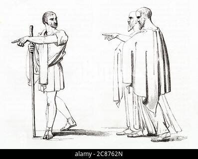 Illustration de Kenny Meadows à Timon d'Athènes, par William Shakespeare. Flavius et deux sénateurs viennent à la recherche de Timon, pour le persuader de retourner à Athènes, mais il n'a plus confiance en personne et les détourne. Date: 1840