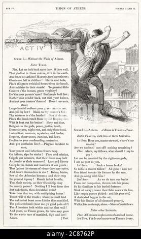 Illustration de Kenny Meadows à Timon d'Athènes, par William Shakespeare. Timon quitte Athènes en dégoût de la façon dont ses amis parasitiques l'ont traité. Date: 1840