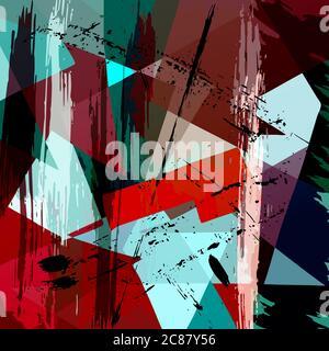 motif géométrique abstrait sur fond, avec triangles, traits et éclaboussures Banque D'Images