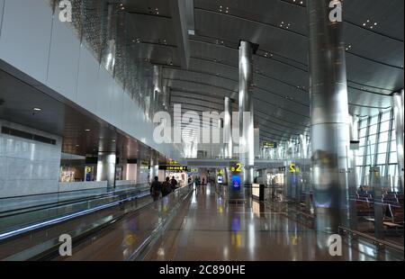 Intérieur de l'aéroport international de Hamad, à Doha Qatar, Moyen-Orient