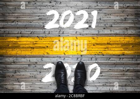 Bienvenue 2021 - Au revoir 2020 - concept de démarrage