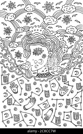 La déesse surréaliste de fille du ciel de nuit et de jour. Conte de fées tribal wom Banque D'Images