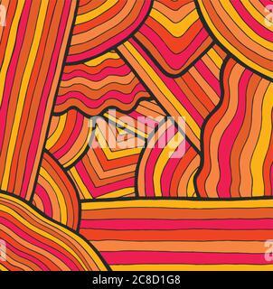 Fond psychédélique coloré avec des rayures. Motif Doodle dessiné à la main. Illustration vectorielle