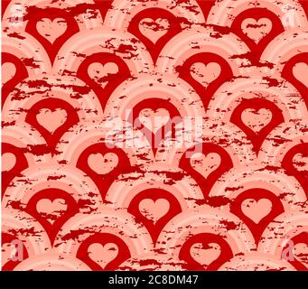 illustration vectorielle d'un motif de symétrie du cœur grunge Banque D'Images