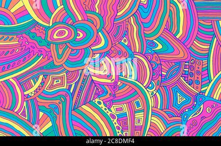 Motif à rayures ton sur ton fluo. Décoration abstraite colorée en arc-en-ciel. Texture psychédélique. Illustration vectorielle.