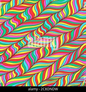 Arrière-plan de motif Doodle. Zentangle art. coloris arc-en-ciel. Motif de crépette triplement. Décoration florale bio couleur néon. Texture psychédélique. Vecteur Ill