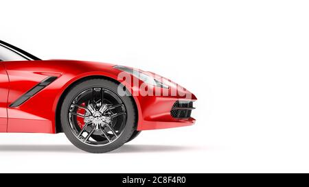 Vue latérale d'un SUV sportif rouge isolé sur fond blanc. Banque D'Images