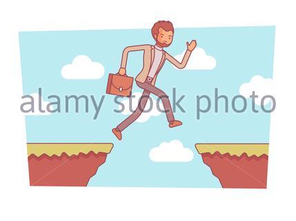 Homme sautant sur l'abîme. Entreprendre des actions mettant la vie en danger pour gagner et obtenir beaucoup plus, en investissant avec danger dans la startup, l'argent risqué faisant ide Banque D'Images