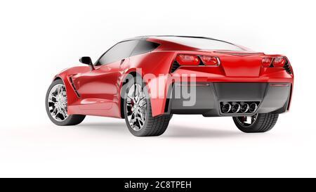 Vue arrière d'un SUV sportif rouge isolé sur fond blanc. Banque D'Images