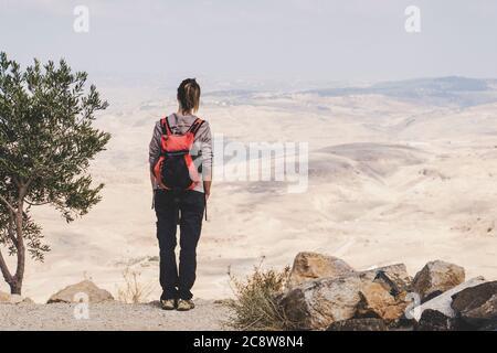 Femme randonnée montagne avec sac à dos profiter de la vue. Vue de l'arrière. Banque D'Images