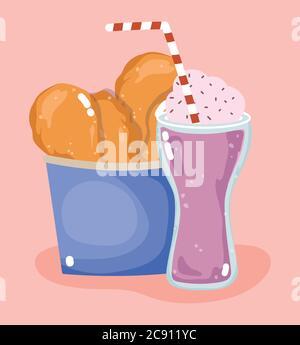 restauration rapide menu savoureux dîner restaurant poulet rôti dans une boîte et illustration vectorielle milk-shake Banque D'Images
