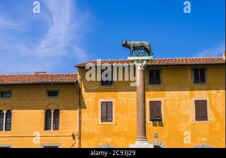 Pise, Italie - 14 août 2019 : le Loup de Capitoline ou Lupa Capitolina est une sculpture en bronze sur la Piazza dei Miracoli ou la place des miracles à Pise Banque D'Images