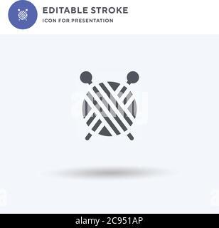 Icône de boule de laine vecteur, signe plat rempli, pictogramme solide isolé sur blanc, illustration du logo. Icône de balle de laine pour la présentation.