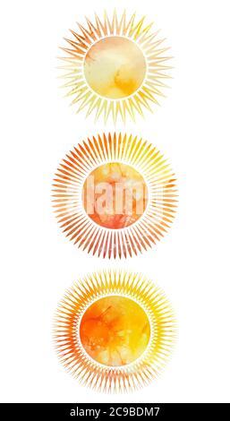 Ensemble d'icônes de soleil avec différents rayons et fond aquarelle. Elément vectoriel pour votre conception Banque D'Images