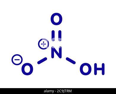 Acide nitrique (HNO3) forte molécule d'acide minéral. Utilisé dans la production d'engrais et d'explosifs. Formule squelettique bleue sur fond blanc. Banque D'Images