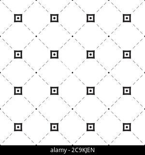 Motif géométrique sans couture. Formes géométriques, croix, cercle, losange, ligne en pointillés diagonaux. Arrière-plan abstrait sans couture de pointillés et de lignes croisées. Banque D'Images