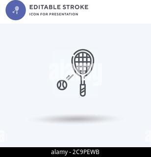 Symbole de tennis, signe plat rempli, pictogramme solide isolé sur blanc, illustration du logo. Icône de tennis pour la présentation. Banque D'Images