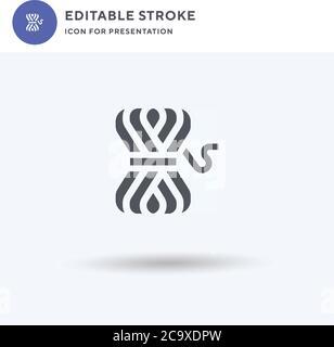 Fil boule icône vecteur, rempli signe plat, solide pictogramme isolé sur blanc, illustration du logo. Icône de boule de fil pour présentation.
