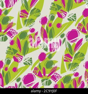 Motif sans couture vectoriel à motif floral plat et abstrait pour l'arrière-plan, le tissu, le textile, l'enveloppe, la surface, la toile et l'imprimé. Décoration cool et amusant su Banque D'Images