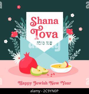 Carte de voeux avec enveloppe et symboles de rosh hashanah, nouvel an juif. Shana Tova. Bénédiction de la bonne année en hébreu et en anglais. Vecteur Banque D'Images