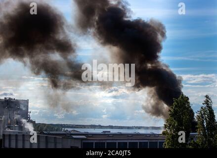 Wismar, Allemagne. 03ème août 2020. De sombres nuages de fumée s'élèvent d'un feu au-dessus d'une zone de stockage en bois au port maritime. Les brigades de pompiers de Wismar mettent actuellement le feu à feu. Credit: Jens Büttner/dpa-Zentralbild/dpa/Alay Live News Banque D'Images