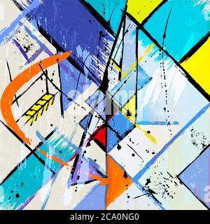 illustration d'arrière-plan abstraite, avec traits, éclaboussures et lignes géométriques Banque D'Images