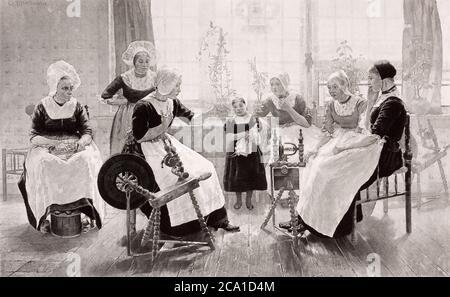 1890 photo d'une peinture de Walter McEwen en 1887, The Ghost Story – « cette image représente une maison paysanne prospère, où les femmes du h