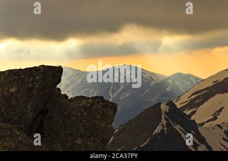 Pologne montagnes Tatra. Coucher de soleil dans les montagnes Tatra. Banque D'Images