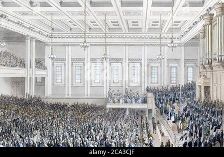 Le titre complet ci-dessous l'image de cette rencontre antiesclavagiste de Londres se lit comme suit: Réunion de la Société pour l'extinction de la traite des esclaves, et pour le