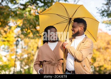 Heureux couple afro marchant sous un parapluie dans le parc d'automne
