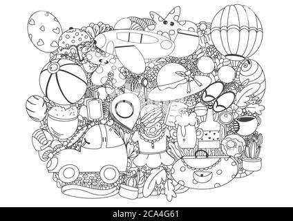 Dessin au trait vectoriel dessin à la main dessin au trait groupe de dessin animé de thème de planification de voyage. vecteur illustrator.