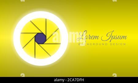 Objectif coloré pour appareil photo ouverture ouverte avec anneau lumineux illustration vectorielle. Modèle de conception en arrière-plan. Thème de couleur dégradé jaune métallisé brillant
