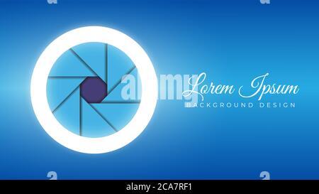 Objectif coloré pour appareil photo ouverture ouverte avec anneau lumineux illustration vectorielle. Modèle de conception en arrière-plan. Thème de couleur dégradé bleu
