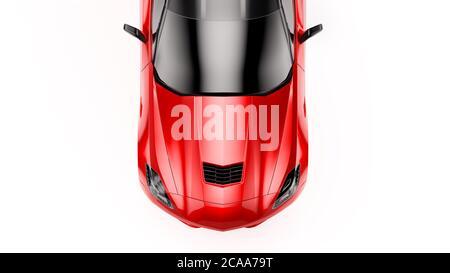 Vue de dessus d'un SUV sportif rouge isolé sur fond blanc. Banque D'Images