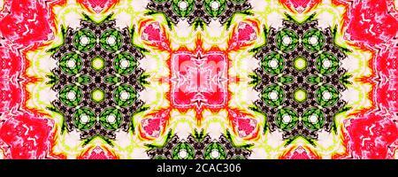 Arrière-plan à motif ombré rose et jaune sans couture, forme abstraite répétée de kaléidoscope, fond symétrique pour le design graphique