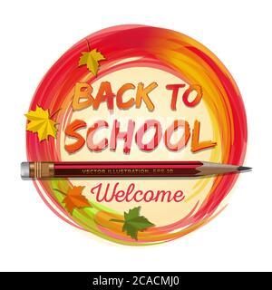 Carte de retour à l'école. Bienvenue. Illustration vectorielle