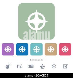 Directions de la carte icônes plates blanches sur fond carré arrondi couleur. 6 icônes bonus incluses