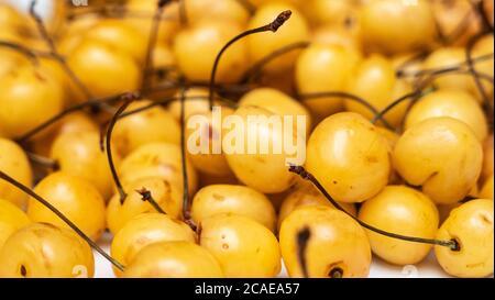 Beaucoup de cerises jaunes en vente sur le marché des fermes. Arrière-plan flou. Concept de récolte. Fond jaune cerise doux. Banque D'Images
