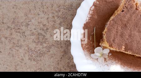 génoise avec crème et chocolat au lait. Tranche de gâteau sur une assiette blanche. Servi sur une table en bois. Dessert préféré pour la fête