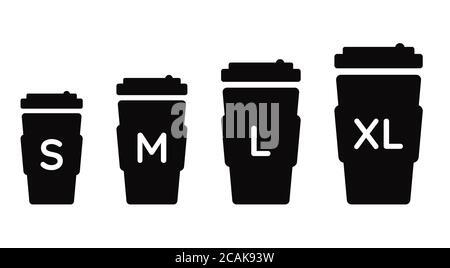 Tasse à café taille S M L XL. Différentes tailles : petite, moyenne, grande et très grande. Ensemble d'icônes de cafetière à vecteur noir