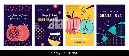 Ensemble de cartes de voeux Rosh Hashana avec proverbes et salutations traditionnels. Année douce comme un miel, être une tête et pas une queue, bonne nouvelle année, en hébreu Banque D'Images