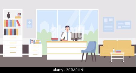 Illustration du vecteur plat du rendez-vous du médecin. Caricature médecin femme personnage assis au milieu de travail médical de doctorat dans l'intérieur du bureau de la clinique de l'hôpital moderne, médecin attendant les antécédents des patients