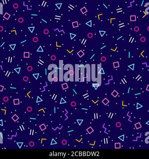 Arrière-plan géométrique abstrait avec différentes formes géométriques - triangles, cercles, points, lignes. Style Memphis. Lumineux et coloré, style des années 90. Vecteur Banque D'Images